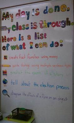"From one of the elementary teachers in my district (Kristy White). Great presentation of daily objectives for each subject area written as ""I can"" statements."