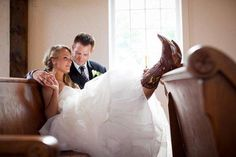 Planning a Rustic Southern Wedding? Wear cowboy boots to show your southern style.