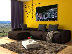 Wohnzimmer in der Trendfarbe 2016 - Gelb
