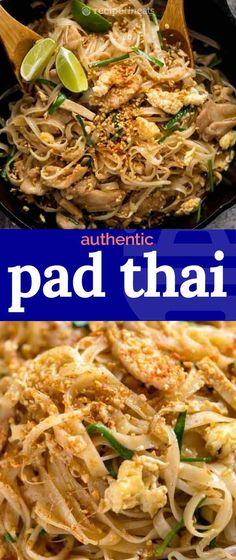 This is a Pad Thai recipe that truly stacks up to great Thai restaurants yet is totally doable for every home cook with just a trip to your every day grocery store. With the slippery noodles, signatur Asian Recipes, Mexican Food Recipes, Dinner Recipes, Healthy Recipes, Healthy Food, Asian Desserts, Thai Food Recipes Easy, Healthy Pad Thai, Asian Noodle Recipes