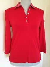 Chaps Polo Red Striped Collar Down Top Shirt Sz S Small 2-4 Misses