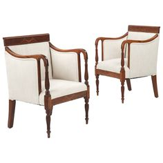 19th Century Pair of Sheraton Style Mahogany Antique Arm Chairs | 1stdibs.com