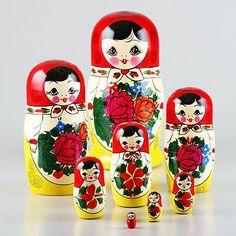 Oh I love. I saw a matryoshka doll at the flea market today with ten pieces, but it was forty bucks and not as cute as this set. I love the tiny lil one!