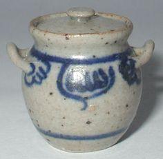 Pottery #67 Decorated Salt Pot by Elisabeth Causeret