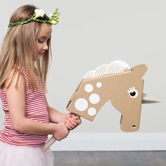 Little Unicorn Head - Put the head together, decorate it, pop it on top of a broom and let your little one gallop away to fantastical worlds. Remove the horn for a giddy-up horse ride. This head also looks great mounted on a wall.