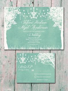 In The Winter Garden   Light Mint Green   Wedding Invitation And Reply Card  Set