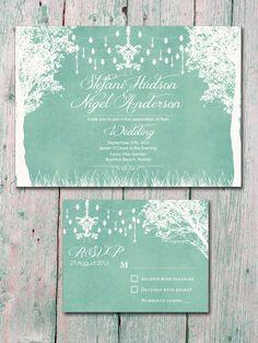 In the Winter Garden - Light Mint Green - Wedding Invitation and Reply Card Set - Wedding Stationery. $1.35, via Etsy.  Not so fussy bit lije ligera vetaren trenes idea