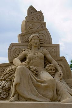 "Sand sculpture by Martin Tulinus and Peter Busch-Jensen called ""The Dualism In Nature""... this is the front /  female side"