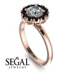 Vintage Halo Black Diamond Engagement Ring - Presley No. Black Diamond Engagement, Halo Diamond Engagement Ring, Gold Diamond Rings, Diamond Wedding Rings, Diamond Anniversary Rings, Proposal Ring, Diamond Sizes, Unique Rings, Band