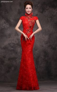 Chinese Wedding Tonal Sequined Gown Trumpet Red Qipao