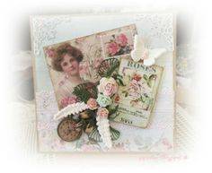 Shabby card in pinks and greens