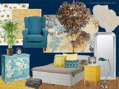 My result for the moodboard challenge 01/14 - the task was to design a moodboard around IKEA Arbakka bed. I chose teal/turquoise and yellow and a tree theme.