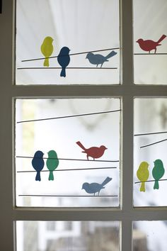 Birdies on a wire 'glass art' - Stunning on this glass cottage door but could also work on a larger glass sliding door -
