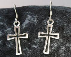Small Cross Earrings, Sterling Silver, Dangle Earrings, Baptism Earrings on Etsy, $22.00