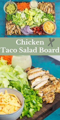 Bring everyone together this Taco Tuesday with a beautiful entertaining board. This Chicken Taco Salad Board is put together with fresh ingredients for everyone to enjoy! Fresh Salad Recipes, Lunch Recipes, Mexican Food Recipes, Vegan Recipes, Cooking Recipes, Dessert Recipes, Easy Appetizer Recipes, Easy Dinner Recipes, Easy Meals