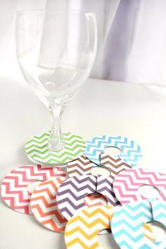 Printable Chevron Wine Glass Slipper Name Card by ThePoshEvent