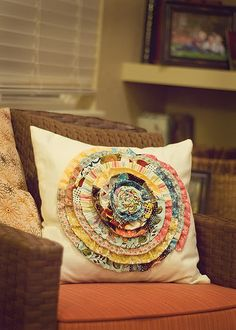 DIY flower pillow.  Great use for your favorite scraps.