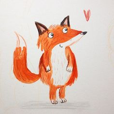 Quick warm up painting... a slightly more short and chubby fox! Happy Weekend :)