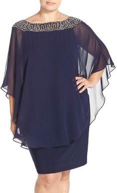 Xscape Embellished Chiffon Overlay Jersey Sheath Dress (Plus Size) #PlusSize