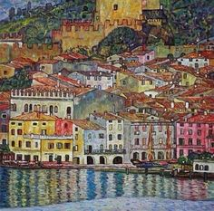 """ Gustav Klimt | Malcesine on lake Garda 1913 """
