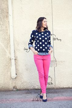 Pink Pants and Polka Dot Top :]