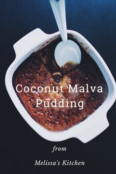 Recipe //Coconut Malva Pudding // Recipe by Wida Foster on South African Desserts, South African Recipes, Malva Pudding, Pudding Cake, Self Saucing Pudding, Savoury Baking, Lava Cakes, No Bake Treats, Pudding Recipes