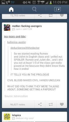 Romeo and Juliet according to Tumblr - Imgur