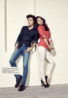 Park Shin Hye and Ahn Jae Hyun for Jambangee Spring/Summer 2014 Ad Campaign Korean Actresses, Korean Actors, Actors & Actresses, K Pop, Kpop Outfits, Cute Outfits, Poses, Dramas, Kim Young Kwang