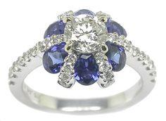 0.66ct Diamond & Sapphire 18k White Gold Engagement Ring    Price: $4,400.00
