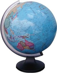 This world globe has a high quality and accurate perspex globe. The globe is housed on a resilient plastic base and meridian.