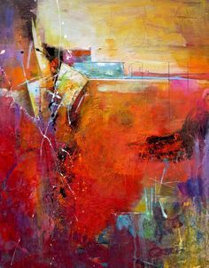 This painting, by Karen Hale, intrigues me. It feels like I'm peeling back the layers when I view it. 'Makes an Entrance' (22in x 28in)