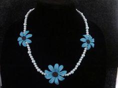 Blue flower polymer clay