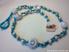 Seashells and Beads Knotted necklace anklet or bracelet  by Rum Cay
