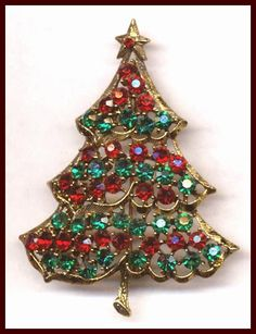 weiss vintage jewelry | WEISS RED & GREEN CHRISTMAS TREE PIN