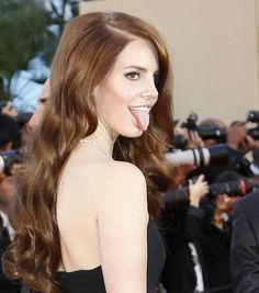 Lana Del Rey goofing off Girl Tongue, Woman Crush, Looking Gorgeous, Girl Crushes, Role Models, Red Hair, Beautiful Women, Singer, Actresses
