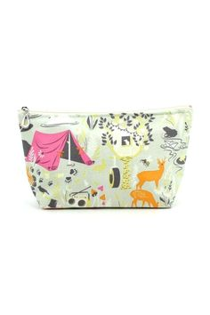 """Cotton cosmetic bag, interior fully lined with a cheerful print and waterproof plastic for easy cleaning.    Measures 5"""" x 9""""   Glamp Cosmetic Bag by Dana Herbert. Bags - Cosmetic Pouches Colorado"""