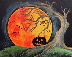 Come paint Fright Night at Pinot's Palette! #PinotsPalette #pumpkin #moon #Halloween #painting