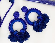 The place to buy and sell everything that is handmade, Blue Earrings, Beaded Earrings, Etsy Earrings, Crochet Earrings, Hoop Earrings, Floral Hoops, Fabric Jewelry, Diy Accessories, Statement Jewelry