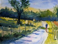 #Landscape Painting on Watercolors of Round Hay