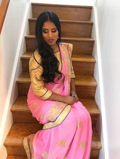 https://www.instagram.com/lavanya.uthayasivam/ #saree #pink #makeup #traditional #makeupjunkie #gold #glitter #eyeshadow #tamil #brownskin