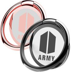 2 Pack BTS Phone Ring Stand Bangtan Boys Finger Loop Ring Holder Universal 360 Rotation Cell Phone Ring Kickstand for Magnetic Car Phone Mount (Army),