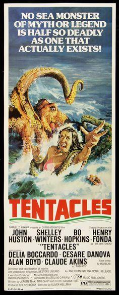 TENTACLES (1977) - John Huston - Shelley Winters - Bo Hopkins - Henry Fonda - Directed by Oscar Hellman - American International - Insert movie poster.