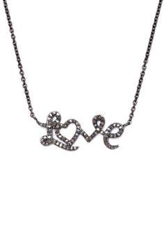 Pave Diamond Love Script Necklace - 0.62 ctw
