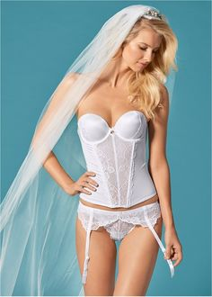 Front View Bridal Lace Detail Corset