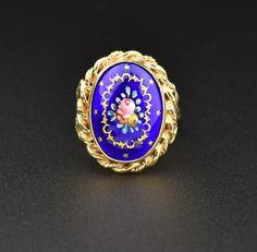 Vintage 14K Gold Cobalt Blue French Enamel Ring  #French #France #Blue #intage #14K #Vintage #Enamel #Ring #namel #Gold