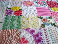 California Dreaming  Vintage Chenille Quilt Throw or Coverlet