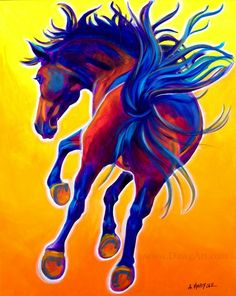 Colorful Horse Painting Print DawgArt FREE SHIPPING by dawgpainter