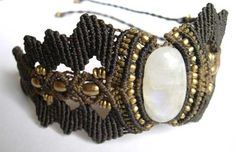 Macrame Bracelet Armlet Moonstone Brass Brown Tribal. €43.00, via Etsy.