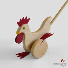 Wooden Toy - Wooden PushToy Chicken - Waldorf Wood Toy - Eco-Friendly Hand-Crafted Toy    When a child push the chicken, she will move the paws