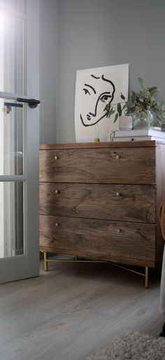 Halle Chest of Drawers in Dark Mango Wood & Brass. Celebrate artisan making at Swoon, hand-crafted designs without the inflated price tag. Blue Drawers, Bedroom Chest Of Drawers, Small Chest Of Drawers, Chest Of Draws, Wood Bedroom, Bedroom Furniture, Home Furniture, Furniture Design, Bedroom Decor